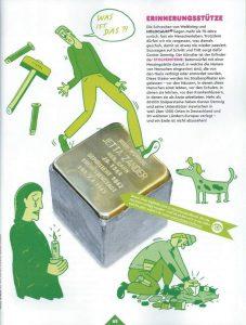 Abbildung eines Stolpersteins aus einem Kinderheft des Gruner&Jahr Verlages